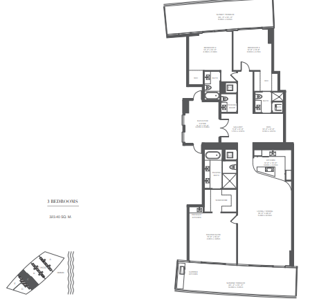 Planning of the apartment 3BR, 4234 in Armani Residences, Dubai