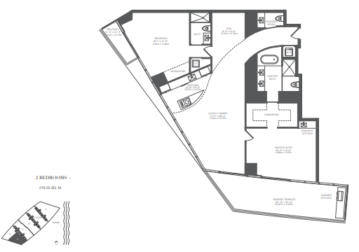 Planning of the apartment 2BR, 2331 in Armani Residences, Dubai
