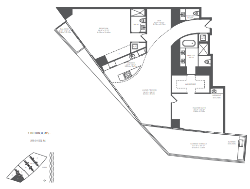 Planning of the apartment 2BR, 2465 in Armani Residences, Dubai