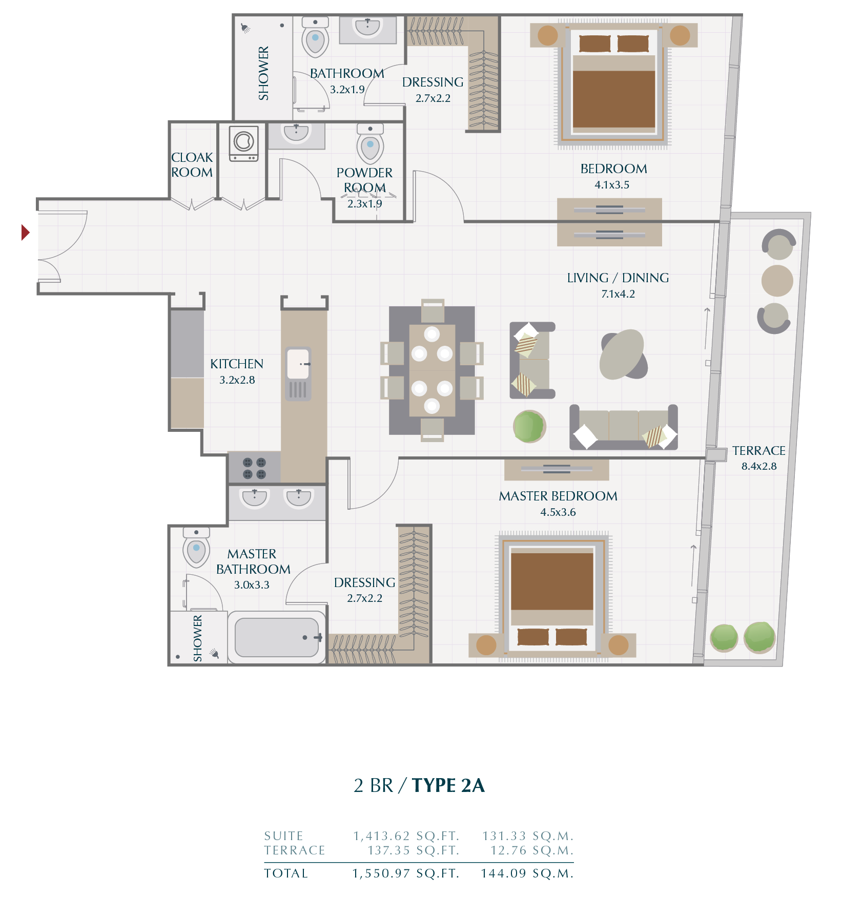 Planning of the apartment 2BR, 144.09 in Wasl1 Park Gate Residences, Dubai