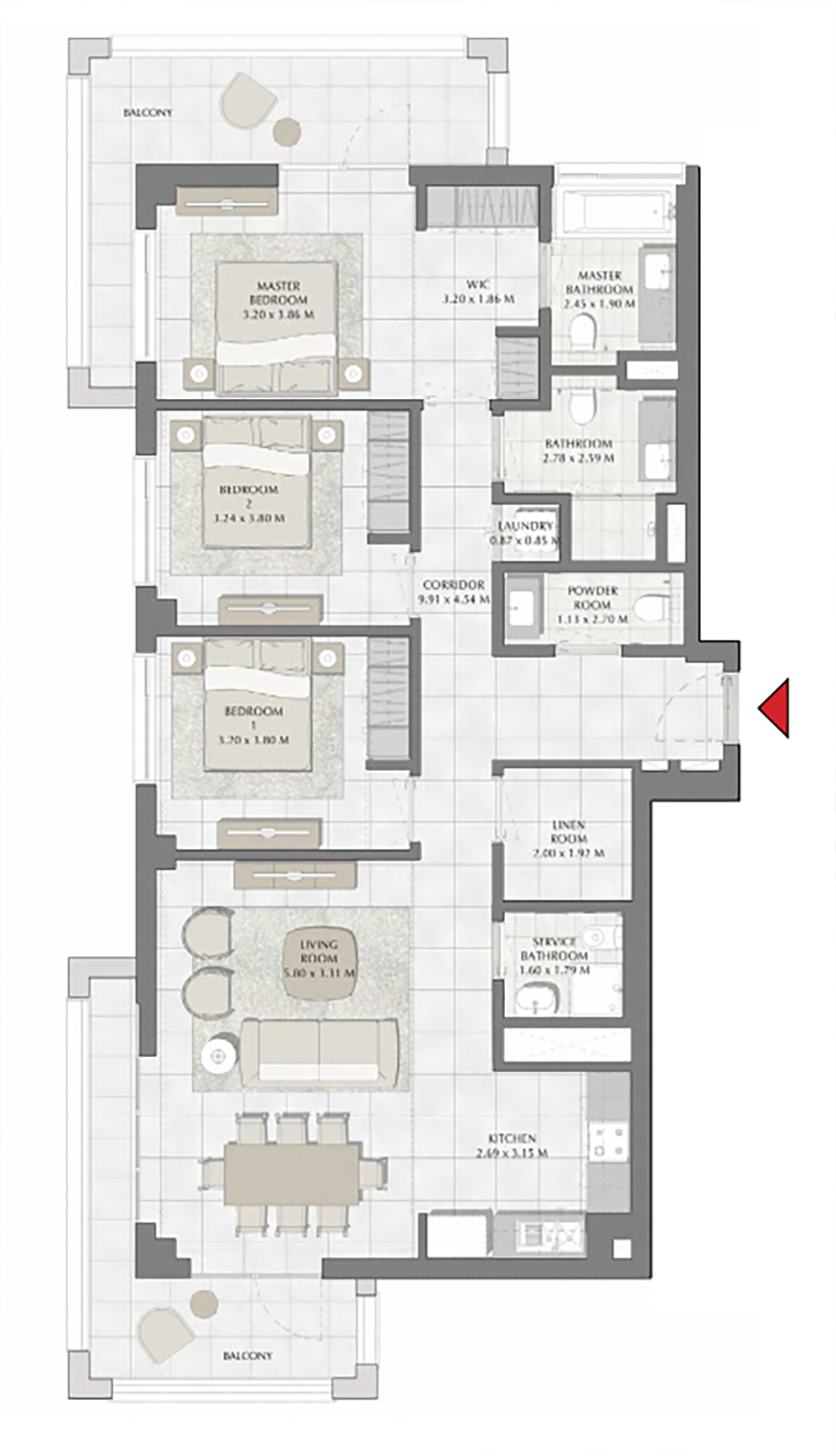 Planning of the apartment 3BR, 1655.92 in Summer, Dubai
