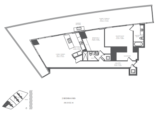 Planning of the apartment 2BR, 2439 in Armani Residences, Dubai