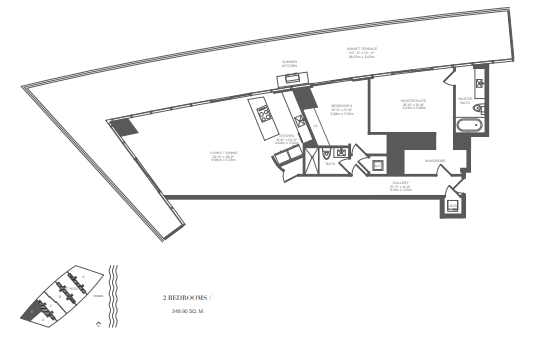 Planning of the apartment 2BR, 2690 in Armani Residences, Dubai