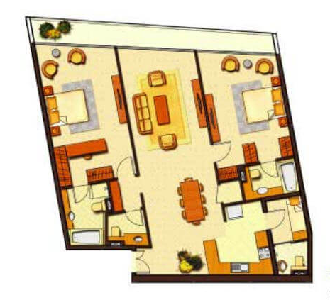 Planning of the apartment 2BR, 1589 in Ocean Heights, Dubai