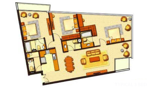 Planning of the apartment 3BR, 1599 in Ocean Heights, Dubai