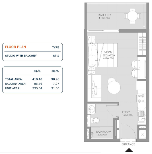Planning of the apartment Studios, 419.4 in MAG Eye Apartments, Dubai