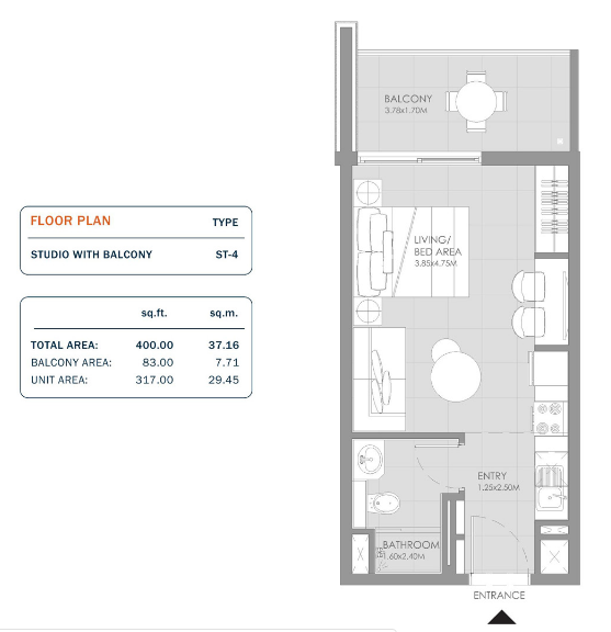Planning of the apartment Studios, 400 in MAG Eye Apartments, Dubai