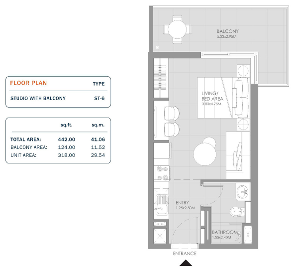 Planning of the apartment Studios, 442 in MAG Eye Apartments, Dubai