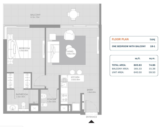 Planning of the apartment 1BR, 805.83 in MAG Eye Apartments, Dubai