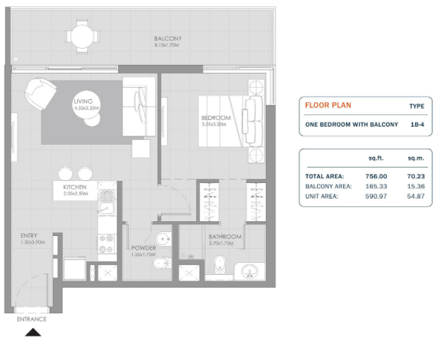 Planning of the apartment 1BR, 756 in MAG Eye Apartments, Dubai