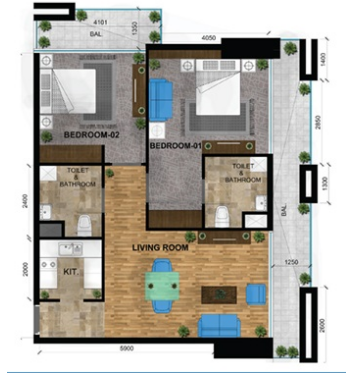 Planning of the apartment 2BR, 1315 in Park Inn Residence, Dubai