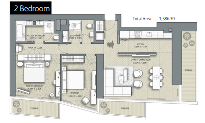 Planning of the apartment 2BR, 1586.39 in The Address Residences Dubai Opera, Dubai
