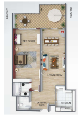 Planning of the apartment 1BR, 795 in Uniestate Prime Tower, Dubai