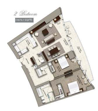 Planning of the apartment 2BR, 1673.1 in The Address Residence Sky View, Dubai