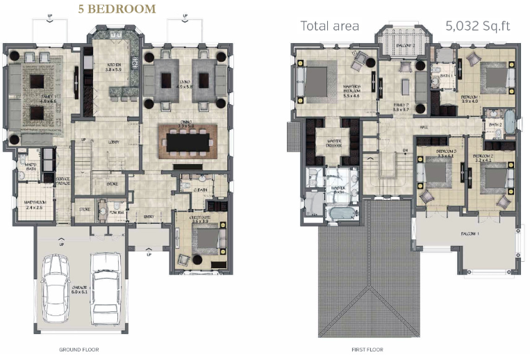 Planning of the apartment 5BR, 5032 in La Avenida 2 Villas, Dubai