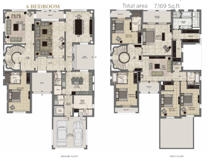 Planning of the apartment 6BR, 7169 in La Avenida 2 Villas, Dubai