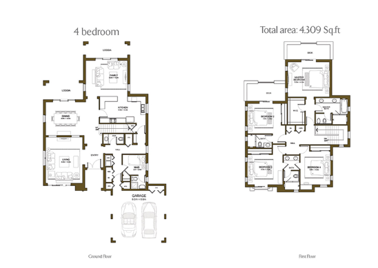 Planning of the apartment 4BR, 4309 in Yasmin Villas in Arabian Ranches, Dubai