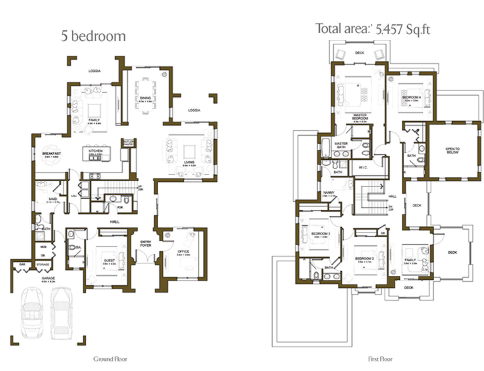 Planning of the apartment 5BR, 5457 in Yasmin Villas in Arabian Ranches, Dubai