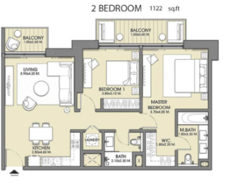 Planning of the apartment 2BR, 1122 in Act One | Act Two, Dubai