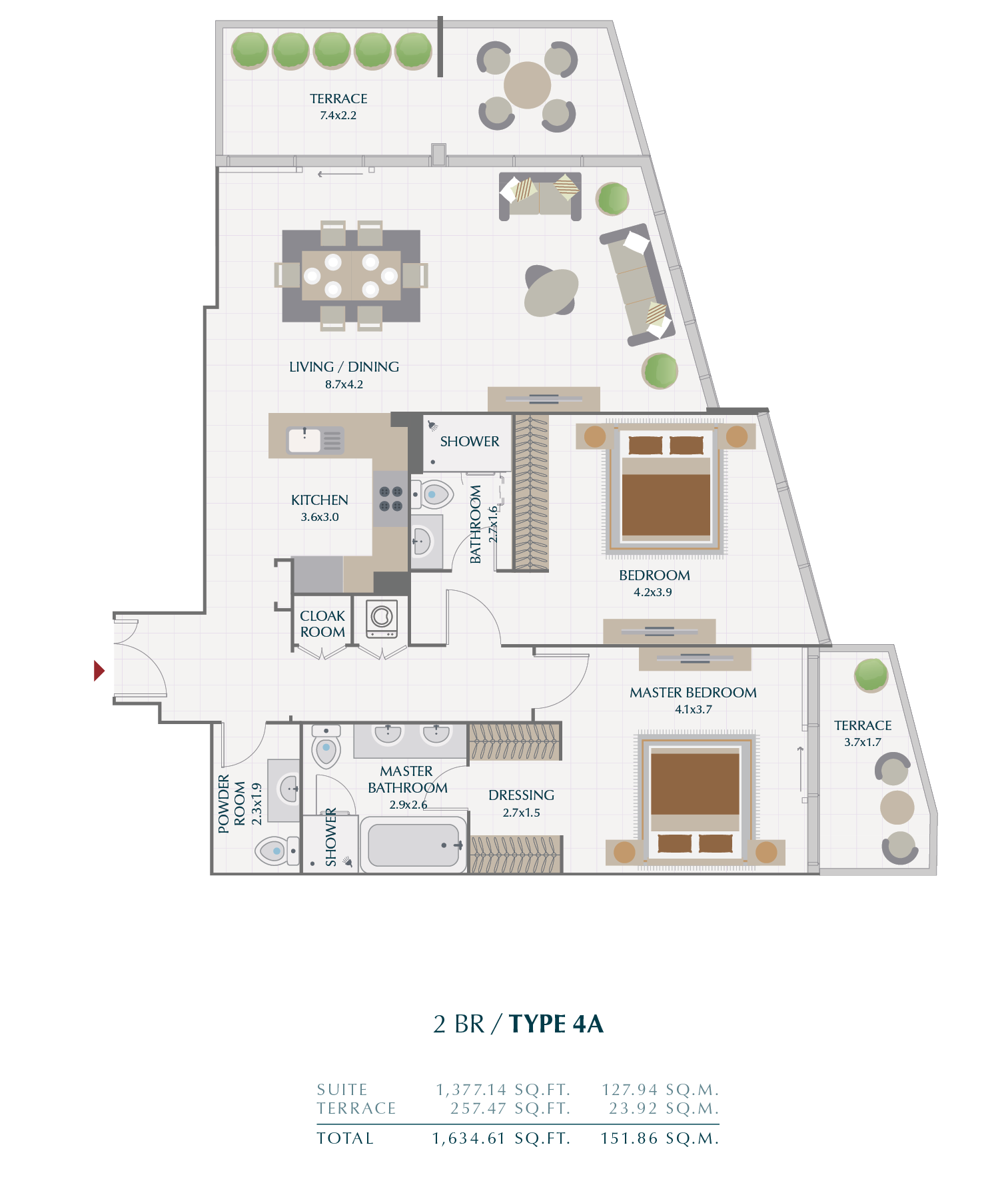 Planning of the apartment 2BR, 151.86 in Wasl1 Park Gate Residences, Dubai