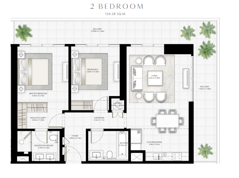 Planning of the apartment 2BR, 1391 in Sunrise Bay, Dubai