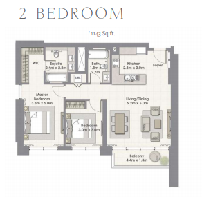 Planning of the apartment 2BR, 1143 in Harbour Views Apartments, Dubai