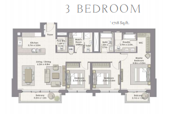 Planning of the apartment 3BR, 1718 in Harbour Views Apartments, Dubai