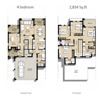 Planning of the apartment 4BR, 2834 in Mira Oasis, Dubai