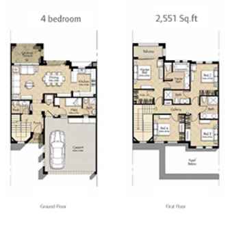 Planning of the apartment 4BR, 2551 in Mira Oasis, Dubai