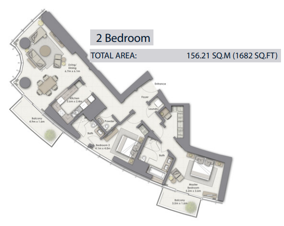 Planning of the apartment 2BR, 1682 in Opera Grand, Dubai