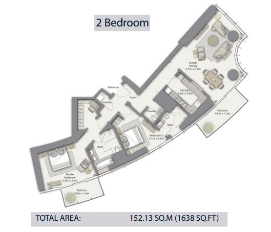 Planning of the apartment 2BR, 1638 in Opera Grand, Dubai