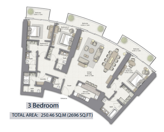 Planning of the apartment 3BR, 2696 in Opera Grand, Dubai
