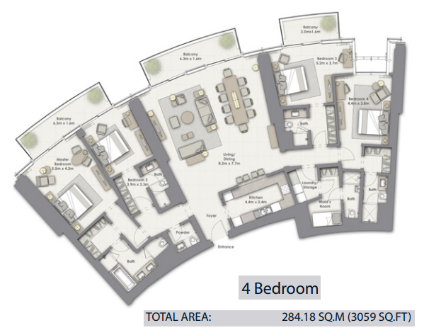 Planning of the apartment 4BR, 3059 in Opera Grand, Dubai