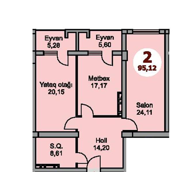 Bakı şəhərinin Armoni Residence yaşayış kompleksində 95.12 sahəsi olan 2-otaqlılar mənzillərin planlaşdırılması