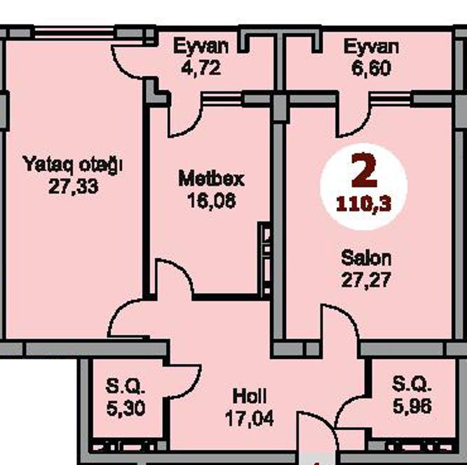 Bakı şəhərinin Armoni Residence yaşayış kompleksində 110.3 sahəsi olan 2-otaqlılar mənzillərin planlaşdırılması