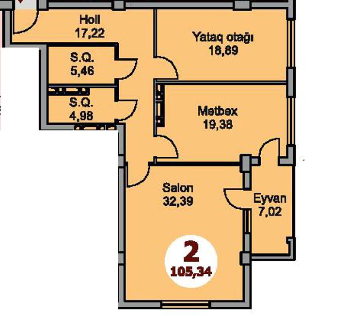 Bakı şəhərinin Armoni Residence yaşayış kompleksində 105.34 sahəsi olan 2-otaqlılar mənzillərin planlaşdırılması