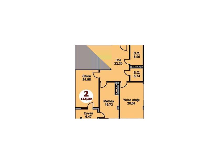 Bakı şəhərinin Armoni Residence yaşayış kompleksində 114.09 sahəsi olan 2-otaqlılar mənzillərin planlaşdırılması