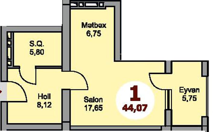 Bakı şəhərinin Armoni Residence yaşayış kompleksində 44.07 sahəsi olan 1-otaqlılar mənzillərin planlaşdırılması