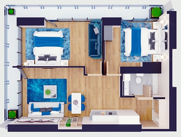 Planning of the apartment 3-bedroom apartments, 78 in Orbi City, Batumi