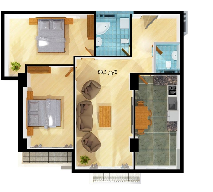 Planning of the apartment 2-bedroom apartments, 88.5 in House on Sheshelidze 3, Tbilisi