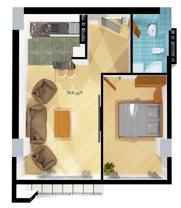 Planning of the apartment 1-bedroom apartments, 50.6 in House on Sheshelidze 3, Tbilisi
