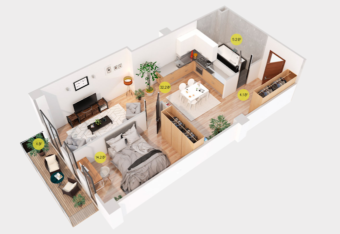 Planning of the apartment 2-bedroom apartments, 62 in Ecocity Samgori, Tbilisi