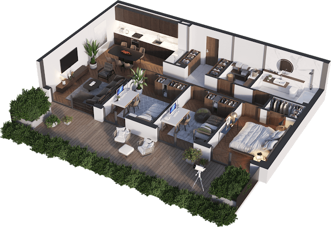 Planning of the apartment 4-bedroom apartments, 93.28 in Namai Vake, Tbilisi