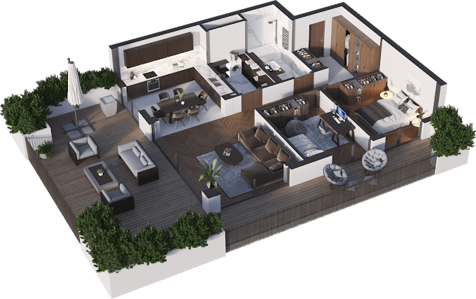 Planning of the apartment 3-bedroom apartments, 89.03 in Namai Vake, Tbilisi