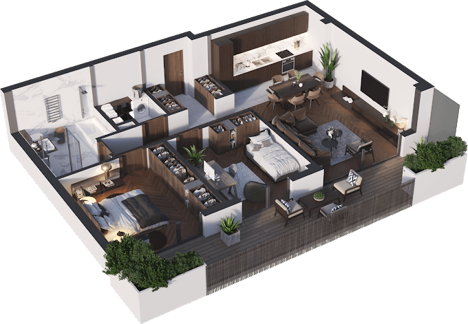 Planning of the apartment 3-bedroom apartments, 84.53 in Namai Vake, Tbilisi