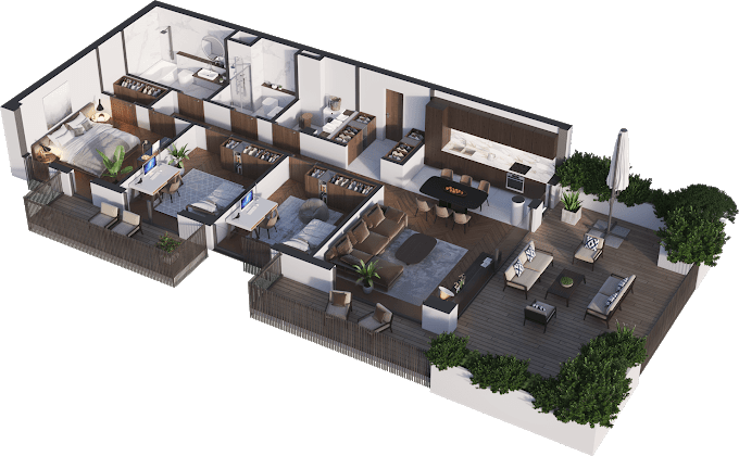 Planning of the apartment 4-bedroom apartments, 107.32 in Namai Vake, Tbilisi