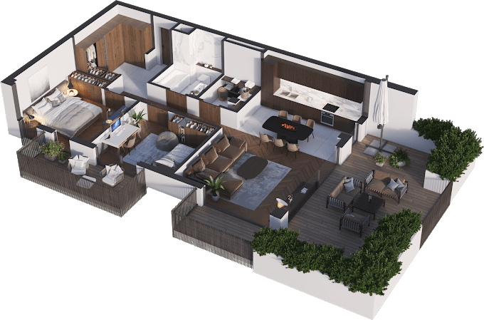 Planning of the apartment 3-bedroom apartments, 88.33 in Namai Vake, Tbilisi