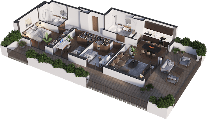 Planning of the apartment 4-bedroom apartments, 96.08 in Namai Vake, Tbilisi