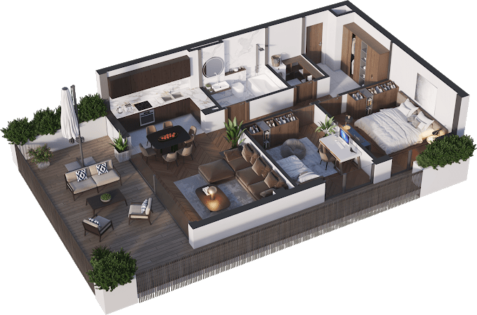 Planning of the apartment 3-bedroom apartments, 74.65 in Namai Vake, Tbilisi