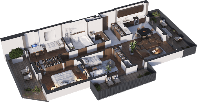 Planning of the apartment 4-bedroom apartments, 102.55 in Namai Vake, Tbilisi